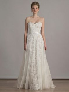 Liancarlo pleated French tulle overskirt on Alencon lace sweetheart neckline strapless wedding dress from Spring 2016