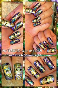 Mardi Gras nail art! Hand painted nail art. Painted with Nail polish and acrylic paint by Melgin Wright  http://www.facebook.com/TheWrightWayToPolishNailArtByMelginWright  http://pinterest.com/melginswright/boards/