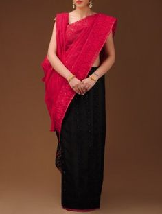 Black-Red Dhakai Jamdani Cotton Saree