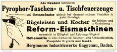 Original-Werbung/ Anzeige 1913 - PYROPHOR - FEUERZEUGE / BERGMANNS INDUSTRIEWERKE GAGGENAU - ca. 90 x 40 mm