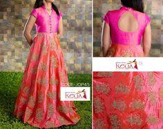 Ethnic wear and Neck line Half Saree Lehenga, Anarkali Dress, Lehenga Gown, Kurta Designs, Blouse Designs, Long Gown Dress, Long Gowns, Indian Skirt, Dress Neck Designs