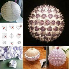 lampe selber basteln origami idee anleitung einfach kugel leuchte