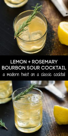 Cocktail Ginger Ale, Rosemary Cocktail, Sour Cocktail, Cocktail Drinks, Fun Drinks, Yummy Drinks, Cocktail Recipes, Alcoholic Drinks, Beverages