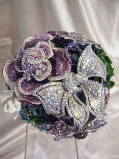 Take a look at this crystal beauty - love the colors of this one of kind bridal bouquet.