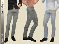 Classic and elegant, always fashion in my point of view. Your men will be always perfect with those pants. In 14 recolours. They works fine with boots.  Found in TSR Category 'Sims 4 Female Everyday'