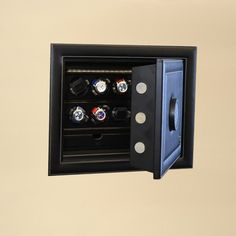 Scatola del Tempo Wall Safe with Six Watch Winder and Storage.