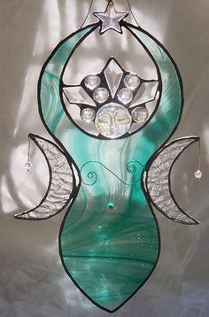 Stained Glass Moon Goddess, Triple Goddess, Moon Fairy, Selene, Diana, Artemis, Luna, Venus, Night Goddess, Wiccan, Pagan, Woman Spirit, Art. $85.00, via Etsy.