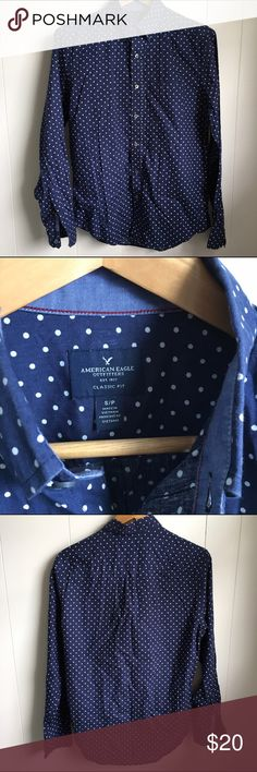 """American Eagle men's polka dot navy button down S Gently used condition. Size men's small. 100% cotton. Armpit to pit is 22"""". Sleeve 25"""". Back neck length 29"""". There are two tiny manufacturing slubs pictured 👈 American Eagle Outfitters Shirts Casual Button Down Shirts"""