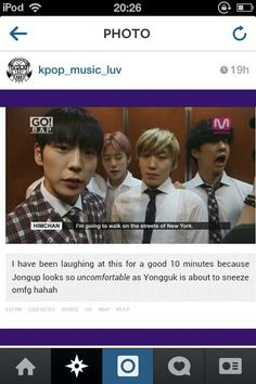 B.A.P. yongguk is about to sneeze and Jongup knows it