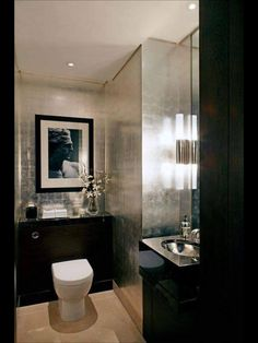 Bathroom Black Powder Room Walls Photos Design And Inspiration Small Powder  Room Black Cabinets And Mirror Frame Light Wall Color. Black Bathroom,  Color ...