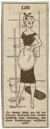 Lilli Cartoon -- inspiration for Lilli doll and then Barbie... In 1952, Lilli appeared in the German newspaper Bild-Zeitung. The comic was created by Reinhard Beuthien. Lilli was a gorgeous, saucy, buxom blonde who often played 'cat and mouse' games with her many admirers.
