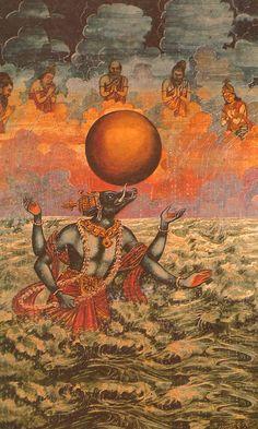 Varaha-avatar Painting, Watercolor Artwork Painting