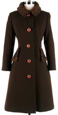 60s brown wool lamb fur mod princess coat jacket