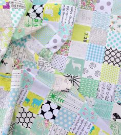 Minty Green Patchwork Quilt Top - Red Pepper Quilts