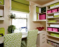 Love this room!   Cool colors, crafty storage
