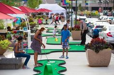 More ideas for pop up mini golf. Moveable mini-golf for street fairs.
