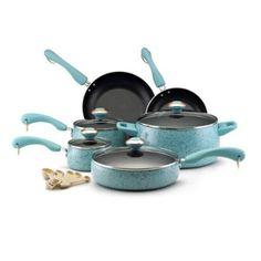 Paula Deen Signature Porcelain Nonstick 15-Piece Cookware Set,Robin's Egg Blue Speckle: Amazon.com: Kitchen & Dining