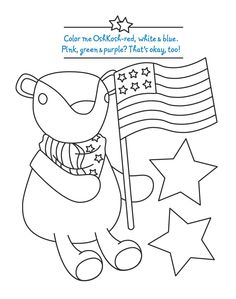 OshKosh B'gosh coloring page with Hickory bear. #redwhitebgosh #free #printable