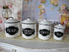 Classic Kitchen Canisters for Dollhouse by alavenderdilly on Etsy, $15.00