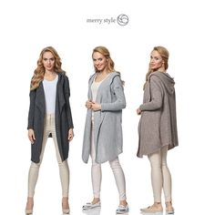 Merry Style Cardigan MSSE0026  * Long women's sweater; Cardigan; Matched sleeves; Spacious hood * Loose, easy fit; Ornate weave; Trendy and very comfortable * 85% Acryl, 15% Nylon * The cardigan is a perfect supplement to many outfits; It will do great as a 8 substitute for outwear, as a loose top * Made of warm, soft and resilient material that looks well on the silhouette * Made in EU