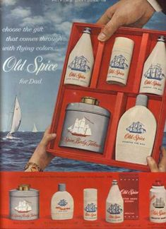 Toiletry ad for Old spice of the my Dad's favorite. To this day I love the smell of it! My comment: Actually, my father did use Old Spice aftershave; I loved its fragrance. Perfume Ad, Vintage Perfume, My Childhood Memories, Sweet Memories, Vintage Advertisements, Vintage Ads, Retro Advertising, Vintage Stuff, Vintage Images