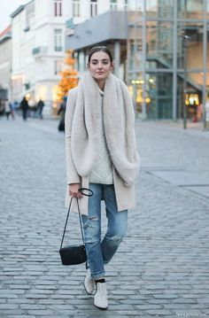 neutrals and distressed denim. #streetstyle
