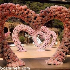 Wow what an amazing entrance, can you imagine what a beautiful experience it would be walking through this divine tunnel of floral pink love hearts! Wedding Hall Decorations, Wedding Reception Backdrop, Wedding Entrance, Wedding Themes, Wedding Venues, Wedding Mandap, Wedding Designs, Wedding Goals, Dream Wedding