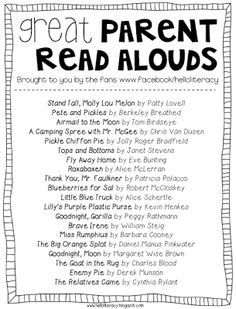 Great Parent Read Alouds by Hello Literacy Facebook Fans