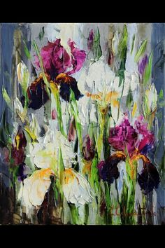 Iris Art, Abstract Canvas Art, Encaustic Art, Art Moderne, Pastel Art, Art For Art Sake, Abstract Flowers, Flower Art, Painting Inspiration