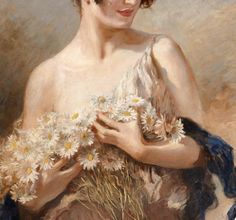 Lady With Daisies Bouquet (Detail), by Leopold Schmutzler 1940
