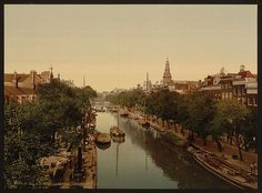 Kloveniersburgwal (canal), Amsterdam, Holland, between ca. 1890 and ca. 1900.