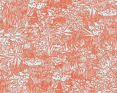 Carolyn Friedlander Cotton Lawn Green Wall in Flame Red Fabric Cotton Lawn Fabric Robert Kaufman Voile Red Lawn Red Apparel Fabric