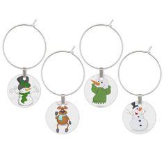Festive Christmas Snowman Cartoon Wine Charm