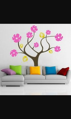 colorful abstract tree flowers wall stickers decals for modern living room paint decorating designs ideas cool and modern wall stickers and - Wall Sticker Design Ideas