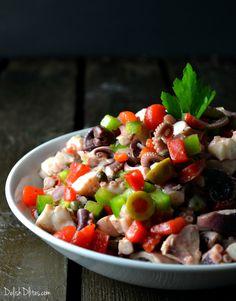 A traditional Puerto Rican delicacy, this ensalada de pulpo (octopus salad) recipe is a vibrant, fresh seafood salad with a Latin flair. Octopus Recipes, Fish Recipes, Seafood Recipes, Appetizer Recipes, Salad Recipes, Cooking Recipes, Appetizers, Keto Recipes, Cuban Recipes