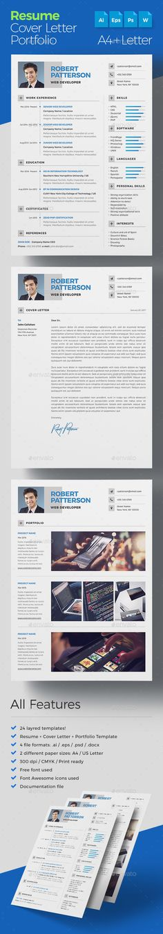 Resume Bundle 2 Psd Printable Graphic Designs Pinterest Print - different resume templates