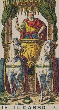 The Chariot - Ancient Italian Tarot Ancient Aliens, Ancient Art, Archetype Jung, The Chariot Tarot, Tarrot Cards, Vintage Tarot Cards, Online Tarot, Esoteric Art, Tarot Major Arcana