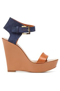 Hugo Boss Nude & Blue Wedge Heel Sandal Spring-Summer 2013 #Shoes #Wedges