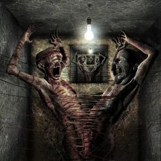 dark bizarre weird morbid freak art - Pesquisa Google, zombies mummies turn on light in crypt and scare each other artwork March 2015