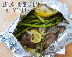 Lemon Herb Steak foil dinner packets make the perfect Summer Grilling Recipe. So easy with almost no clean up. Make on the grill, campfire or in the oven. Healthy Recipes, Beef Recipes, Cooking Recipes, Batch Cooking, Healthy Meals, Bratwurst Recipes, Cooking Steak, Water Recipes, Cooking Food
