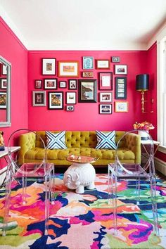 A living room with bright pink walls. Sie sind an &; A living room with bright pink walls. Sie sind an &; Einrichten A living room with bright pink […] living room pink Living Room Color Schemes, Paint Colors For Living Room, Living Room Designs, Colour Schemes, Living Room Color Combination, Paint Schemes, Colour Palettes, Living Room Interior, Living Room Furniture