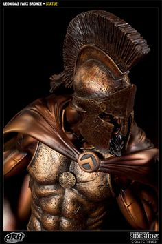 Sideshow Collectibles is proud to present the Faux Bronze Leonidas statue from ARH Studios. Presented with a striking faux bronze finish, the famed Spartan hero Leonidas Sparta, Ancient Greek Sculpture, Spartan Warrior, Sideshow Collectibles, Studios, Hero, Statue, Blood, Army