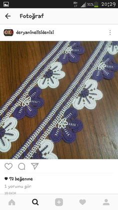 This Pin was discovered by HUZ Crochet Edging Patterns, Crochet Borders, Crochet Lace, Kare Kare, Crochet Decoration, Crochet Videos, Banjo, Lace Trim, Diy And Crafts
