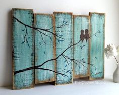 Birds on a Limb Original Painting Wall Hanging by TheChickenStudio