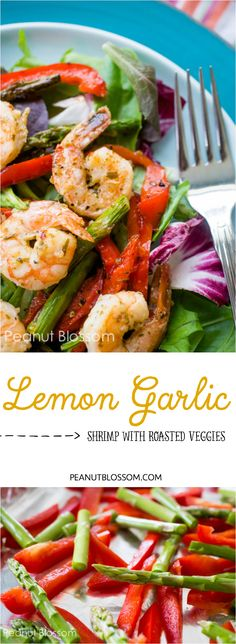 Lemon garlic shrimp with roasted peppers and asparagus salad. Perfect light dinner or healthy lunch. Paleo friendly and gluten free recipe. YUM.