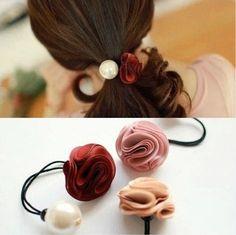 Livraison gratuite corée anneau cheveux pour les femmes fille mode fleur rose perle cheveux cravate tête ornements de cheveux bande accessoire de cheveux