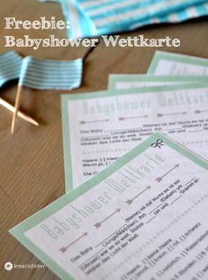 Babyshower printable: Süßes Spiel für die Babyparty: Eine Wettkarte rund um die Geburt zum Download und Ausdrucken. Freebie