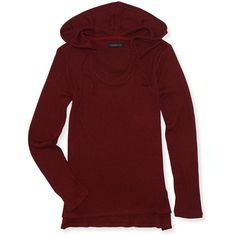 Aeropostale Waffle-Knit Pullover Hoodie ($18) ❤ liked on Polyvore featuring tops, hoodies, winterberry, sweater pullover, aeropostale hoodies, sweatshirt hoodies, lightweight hoodies and red hoodie
