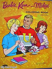 """Barbie Ken and Midge Coloring Book 1960's * look at Midge. she's all like """"f*cking Barbie, you vapid twat, jokes on you. Ken is gayer than gay. You'll see!"""""""