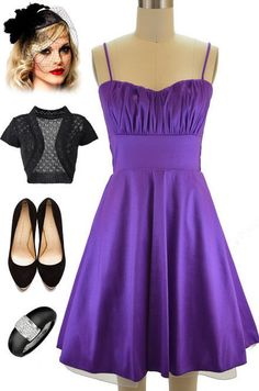 50sStyle PURPLE ROUCHED Bust Bombshll PINUP Holiday PARTY Dress w/Attached Tulle #Tulle #Sundress #SummerBeach